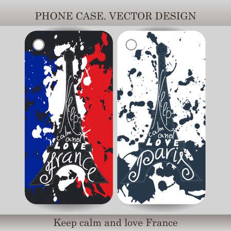 cubierta de la caja del teléfono con la mano dibuja la ilustración de Francia. Diseño de la bandera, la construcción y las letras de gadget. ilustración vectorial