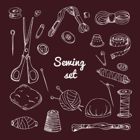 hank: Vector set with sewing equipment. Hand drawn tailor tools.
