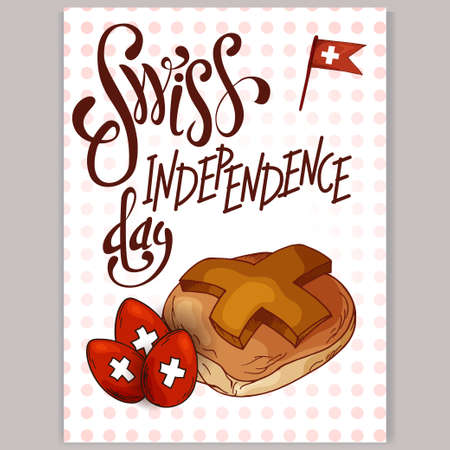 swiss flag: Independence Swiss national day. Hand drawn poster design with lettering. Switzerland republic day greeting card. Vector illustration
