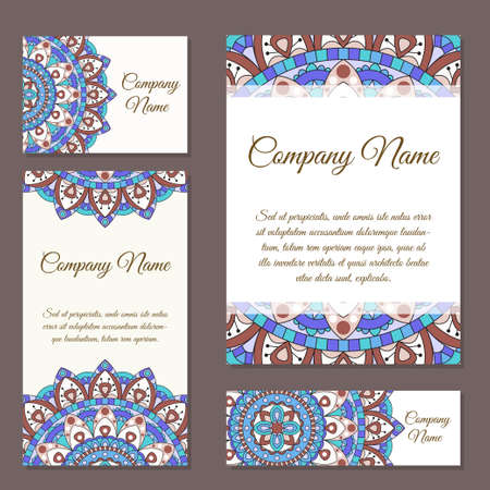 model motive: Vector template business card. Geometric background. Card or invitation collection. Islam, Arabic, Indian, ottoman motifs.