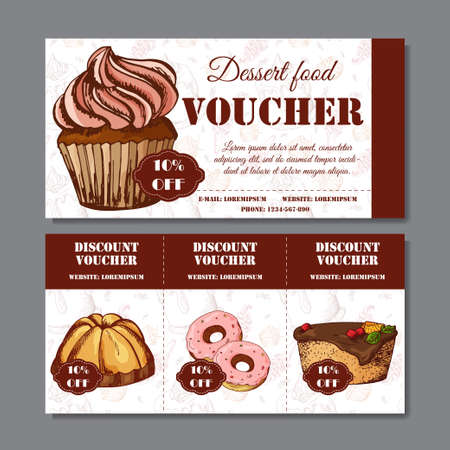 Design Certificate For Your Company. Voucher Template For Food Business.  Vector Dessert Illustration Vector  Lunch Voucher Template