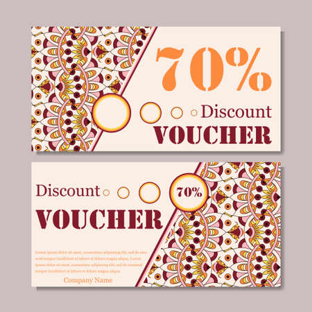 restaurant bill: Gift voucher template with mandala. Design certificate for sport or yoga center, magazine or etc. Vector gift coupon with ornament on background. Illustration
