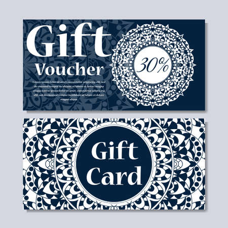 Gift Voucher Template With Floral Mandala Ornament Royalty Free ...