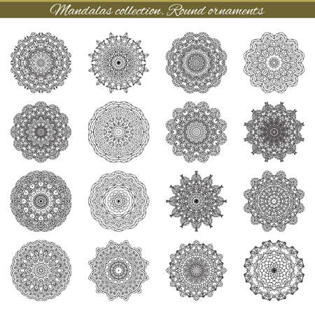 isolates: Set of decorative ethnic mandalas. Outline isolates ornament. Vector design with islam, indian, arabic motifs.
