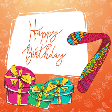 seventh: Vector hand lettering. Happy birthday greeting card with calligraphy. Design black and white overlay