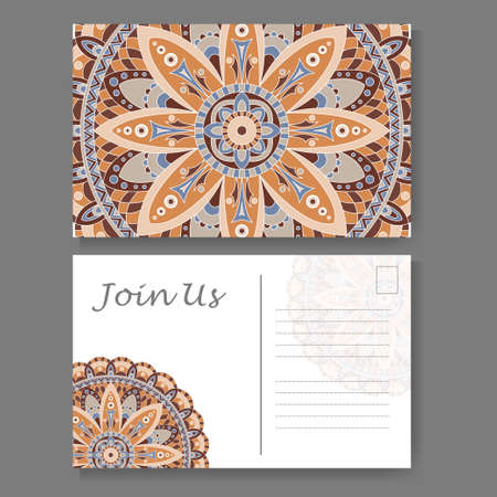 Template for business, invitation card. Postcard background with mandala element. Decorative ornamental design