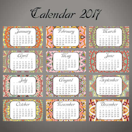 Decorative vintage calendar 2017. Oriental pattern. Vector mandala design can be used for poster, banner, card