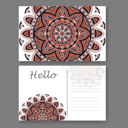 postal card: Vintage mandala design for postcard. Vector illustration. Design for greeting card with decorative ornament Illustration
