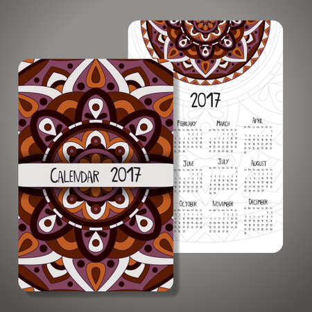 Vector calendar 2017 with decoraive elements. Vector mandala design. Template can be used for web and print design.