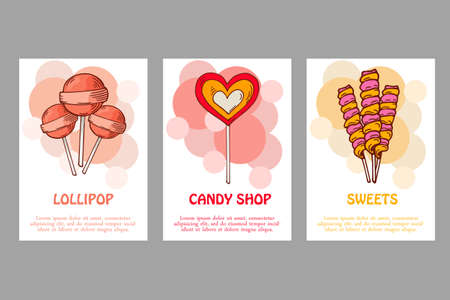 Vector template for business card with hand drawn candy sweets vector vector template for business card with hand drawn candy sweets food shop poster brochure with lollipop gum nicy colourmoves