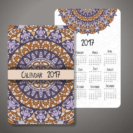event planner: Decorative vintage calendar 2017. Oriental pattern. Vector mandala design can be used for poster, banner, card