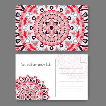 Postcard design with vintage decorative element. Template for greering card. Mandala vector illustration Illustration