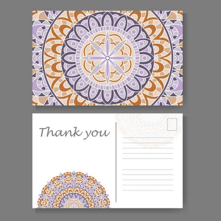 Postcard design with vintage decorative element. Template for greering card. Mandala vector illustration Illustration