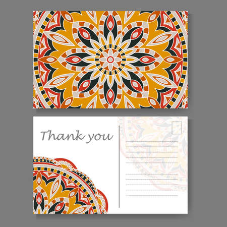Template for business, invitation card. Postcard background with mandala element. Decorative ornamental design
