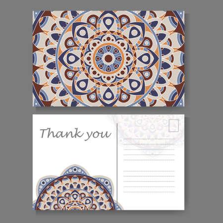 backside: Postcard design with vintage decorative element. Template for greering card. Mandala vector illustration Illustration