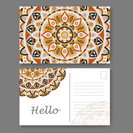 postcard design: Vintage mandala design for postcard. Vector illustration. Design for greeting card with decorative ornament Illustration