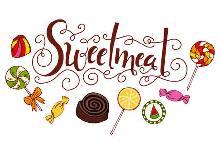 sweetmeat: Hand drawn lettering. Sweetmeat. Label with candy, lollipop, gum. Design template with delicious elements