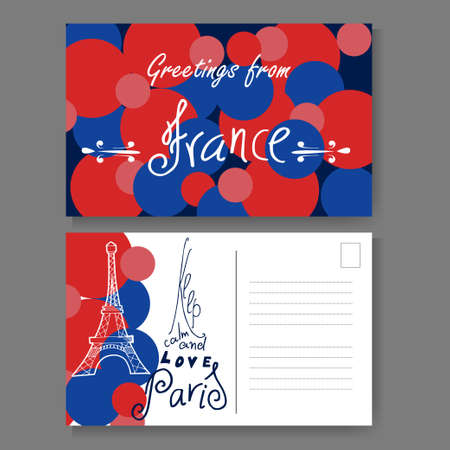 Postcard from Paris. Hand drawn lettering and sketch. Greetings from France. Vector illestration