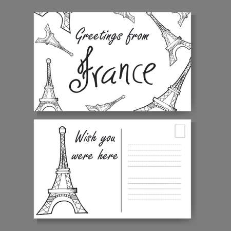 Postcard from paris hand drawn lettering and sketch greetings postcard from paris hand drawn lettering and sketch greetings from france vector illestration m4hsunfo