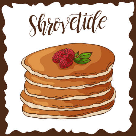 shrove: Hand drawn pancakes. Vector illustration with lettering. Russian holiday. Shrovetide