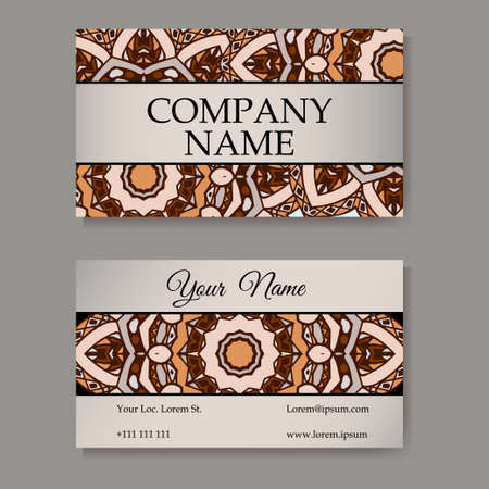 Set of business cards. Vintage pattern in retro style with mandala. Hand drawn Islam, Arabic, Indian, lace pattern Illustration