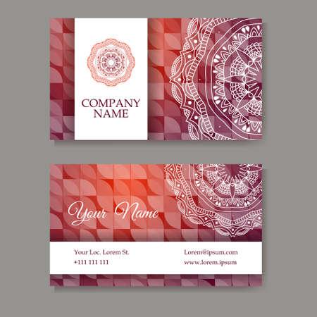 ビジネス カードのセットです。マンダラでレトロなスタイルのビンテージ パターン。手には、イスラム教、アラビア語、インド、レース パターン