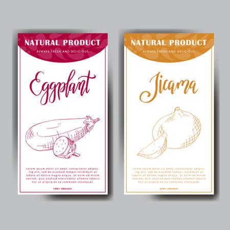 Vegetable food banner. Eggplant and jicama sketch. Organic food poster. Vector illustration. Illustration