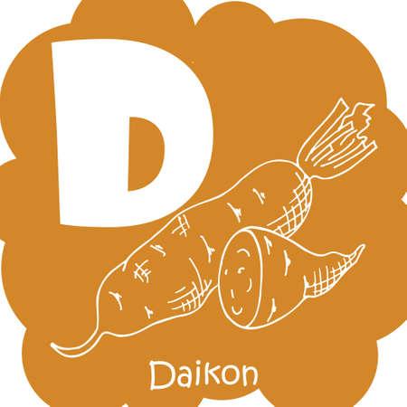 haricot: Vector vegetable alphabet for education. Illustration for kids. Letter D for Daikon.