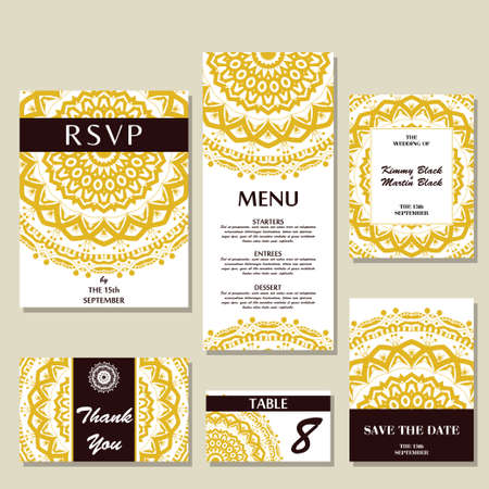 Set of wedding invitations. Wedding cards template with individual concept. Design for invitation, thank you card, save the date card Çizim