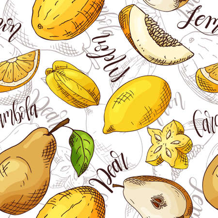 Vector seamless pattern with fruits. Carambola and melon and pear and lemon background. Hand drawn elements. Illustration