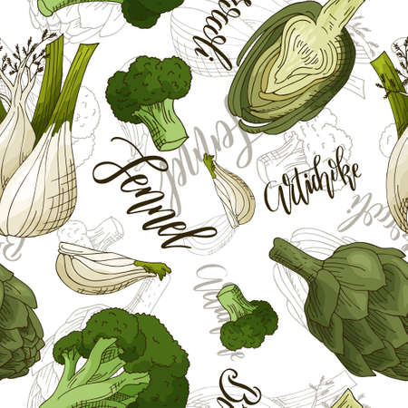 Vector seamless pattern with vegetables. Fennel and artichoke and broccoli background. Hand drawn elements. Иллюстрация