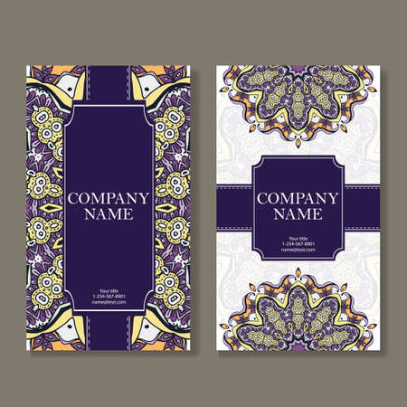 ビジネス カードのセットです。マンダラでレトロなスタイルのビンテージ パターン。手描きイスラム教、アラビア語、インド、レース パターン  イラスト・ベクター素材