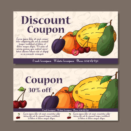 Cafe discount voucher for your business. Modern style with food element on background. Illustration