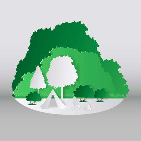 Summer camping paper cut style. Concept with mountain, trees, people at a picnic. Vector illustration