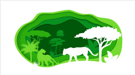 Paper Crafted Cutout World. Concept of tropical rainforest Jungle. Vector illustration