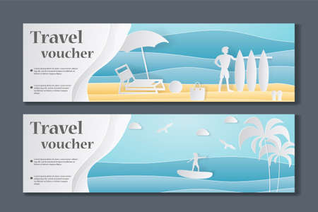 Gift Voucher template. Paper Crafted Cutout World. Concept of summer time, surf board and sea or ocean. Vector illustration Illustration