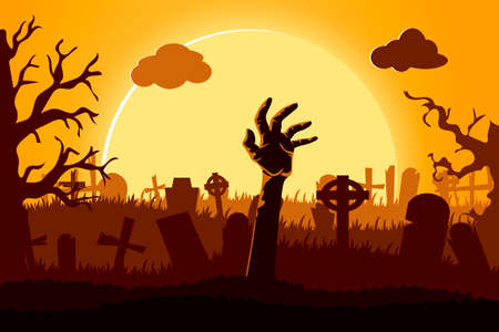 Happy halloween paper cut style. Concept of cemetery. Vector illustration