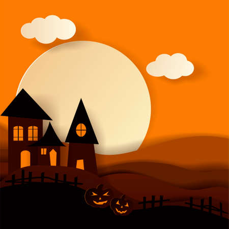 Paper art Haunted house Happy halloween card. Vector cut style illustration