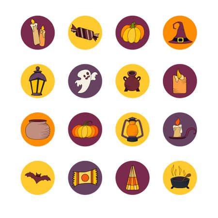 Vector Goast, Pumpkin, Hat Icons. Set Of Hallowen Elements. Spooky ...