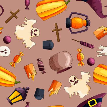 Halloween nahtlose Muster. Design-Elemente für Party-Poster. Vektor-Illustration Standard-Bild - 85276861