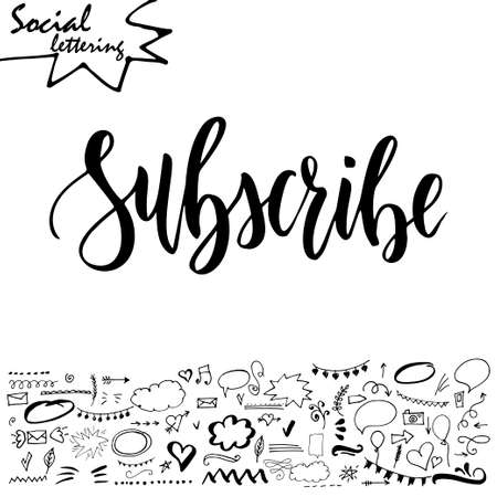 web browser: Hand drawn lettering word with set of social media elements. Vector illustration Illustration