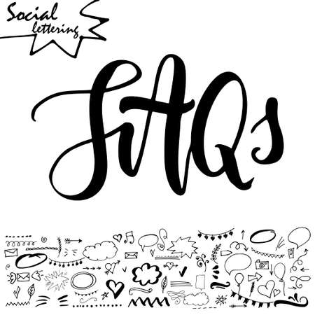 web browser: Hand drawn lettering word with set of social media elements.