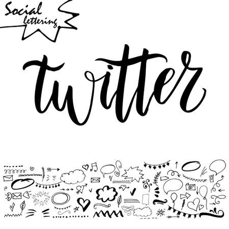 web browser: Vector social media word. Lettering for your blog. Hand drawn elements for decoration