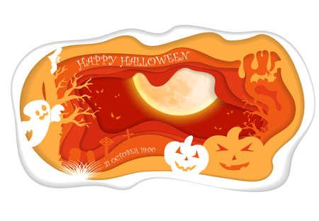 Design withpumpkin on cemetery. Happy halloween paper art style. Vector cut illustration