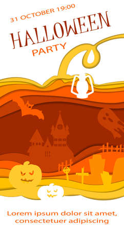 Happy Halloween poster design. Vector template with paper cut style symbols. Party invitation