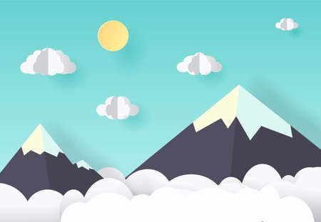 A Vector paper art and craft style. Illustration of nature landscape, cloud and mountain.