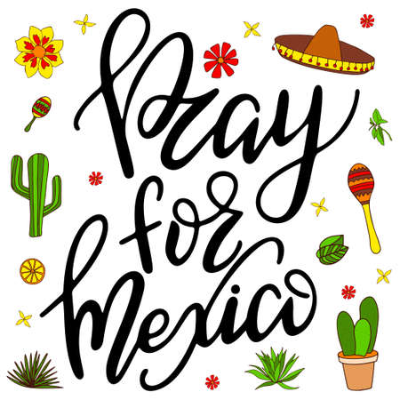 Traditional mexican phrase. Hand drawn lettering design. Vector bright typographic illustration.