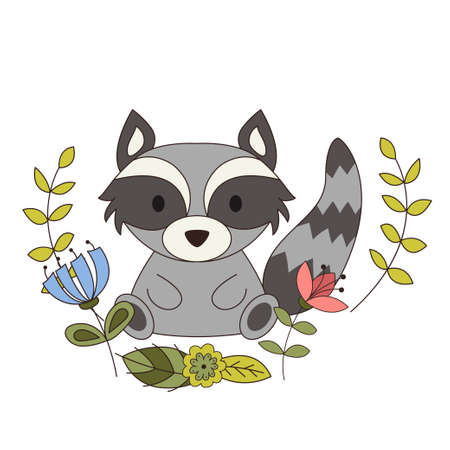Cute animal in cartoon style. Woodland raccoon with forest design elements. Vector illustration Stock Illustratie