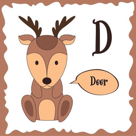 Funny cartoon animals. D letter. Cute alphabet for children education. Vector illustration