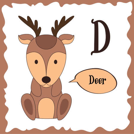 Funny cartoon animals. D letter. Cute alphabet for children education. Vector illustration